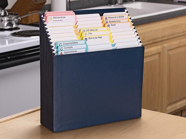 Stadium®  File with SuperTab® Notes Folder and Viewables Labels Kit, 1/3-Cut Tab, Letter Size, Navy Blue (92038)