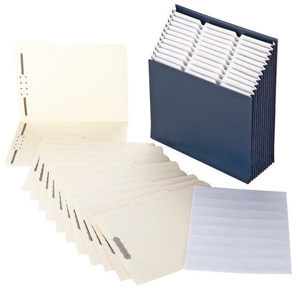 Stadium® File with Fastener Folder and Viewables Labels Kit, 1/3-Cut Tab, Letter Size, Navy Blue (92039)