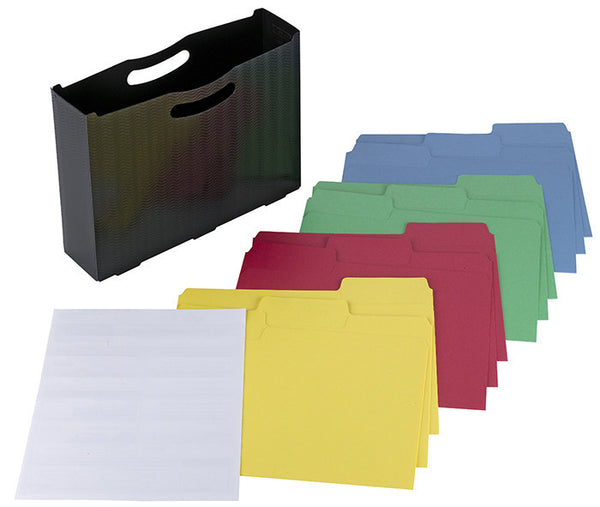 Poly File Box with SuperTab® Folder and Viewables Labels Kit, Oversized 1/3-Cut Tab, Letter Size, Black (92056)