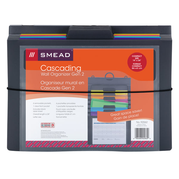 Smead Cascading Wall Organizer Gen 2, 6 Pockets, Letter Size, Gray/Bright (92062)
