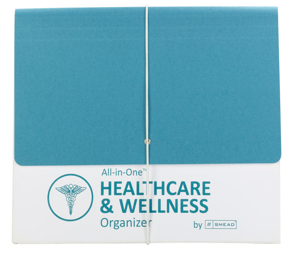 Smead All-in-One™ Healthcare & Wellness Organizer, 12 Pockets, Letter Size, Flap with Elastic Closure, White/Teal (92070)