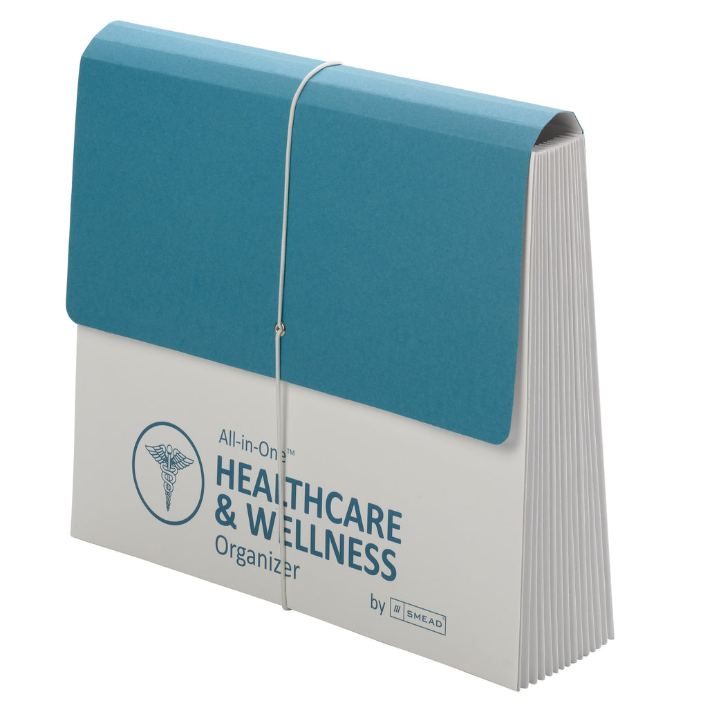 Smead All-in-One™ Healthcare & Wellness Organizer, 13 Pockets, Letter Size, Flap with Elastic Closure, White/Teal (92070)