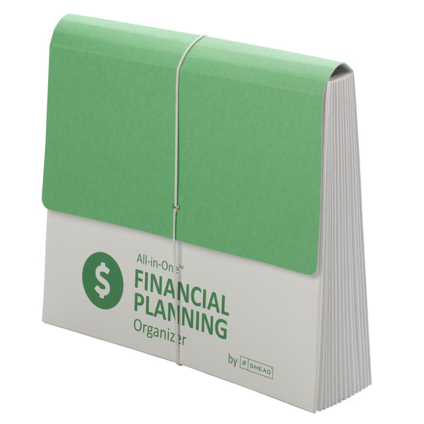 Smead All-in-One™ Financial Planning Organizer, 12 Pockets, Letter Size, Flap with Elastic Closure, Green/White (92071)