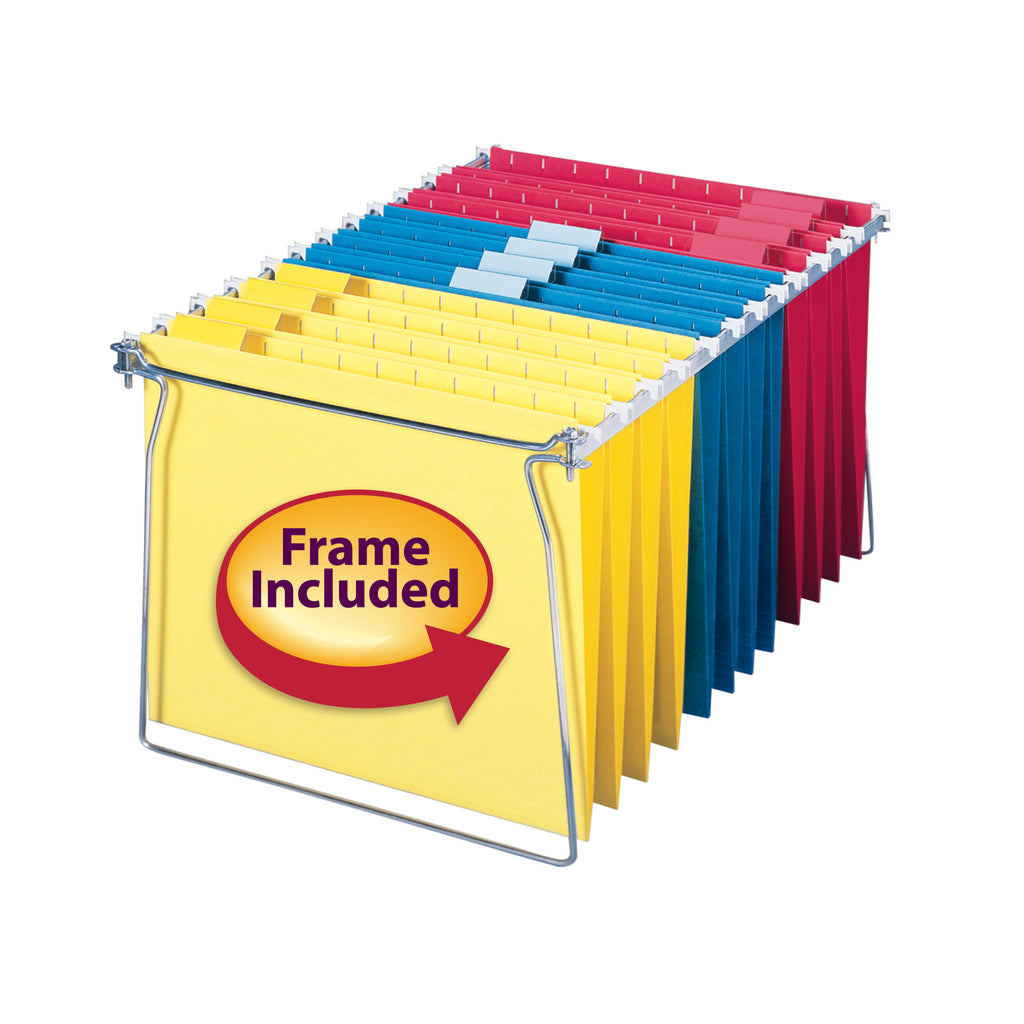 Smead Hanging File Folders with 18-Inch Frame, 1/5 Cut Tab, Letter Size, Assorted Colors, 12 per Pack plus Frame (64805)