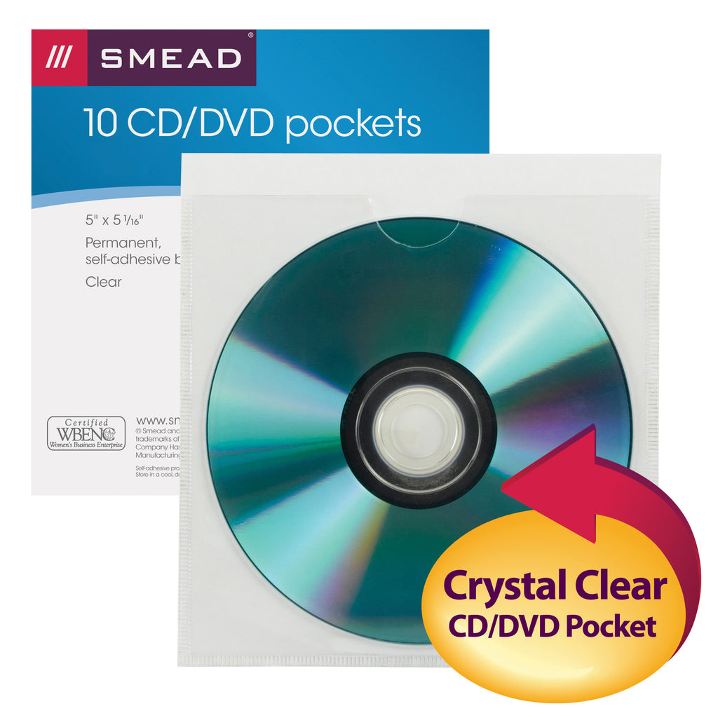 "Smead Self-Adhesive Poly Pocket, CD/DVD Size (5"" W x 5-1/4"" H), Clear, 5 per Pack (68145)"