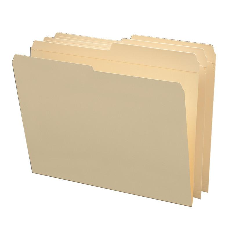 Smead File Folders, Reinforced 1/2-Cut Tab, Assorted Positions, Letter Size, Manila, 100 per Box (10326)