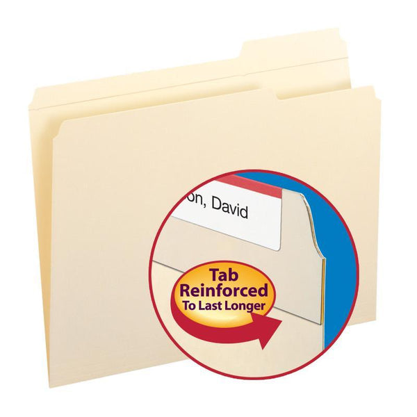 Smead File Folders, Reinforced 1/3-Cut Tab Right Position, Letter Size, Manila, 100 per Box (10337)