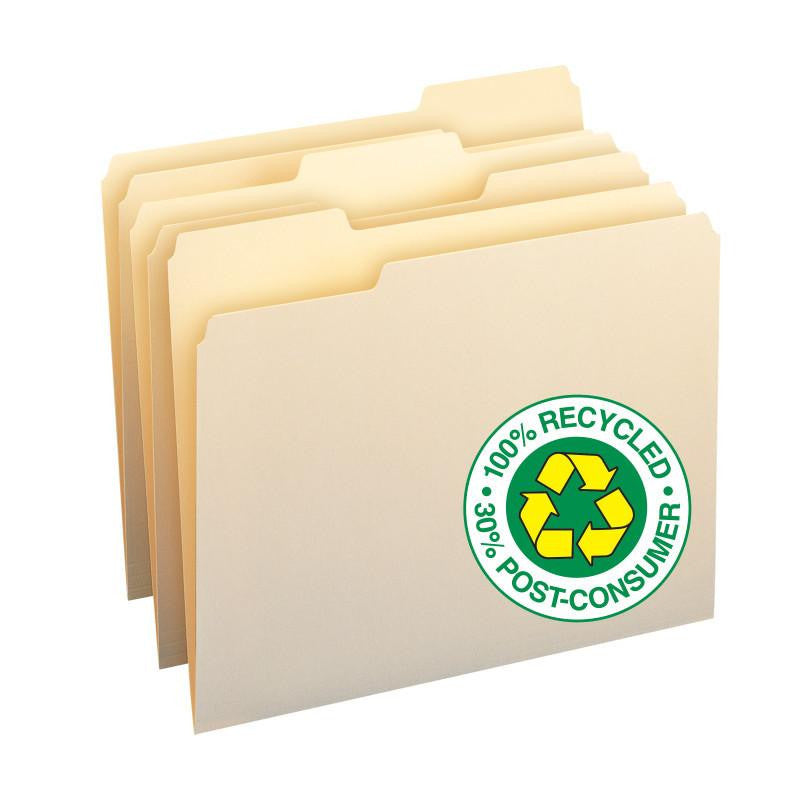 Smead 100% Recycled File Folders, 1/3-Cut Tab, Letter Size, Manila, 100 Per Box (10339)