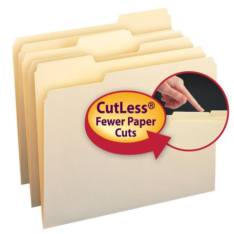 Smead CutLess® File Folder, 1/3-Cut Tab, Letter Size, Manila, 100 Per Box (10341)