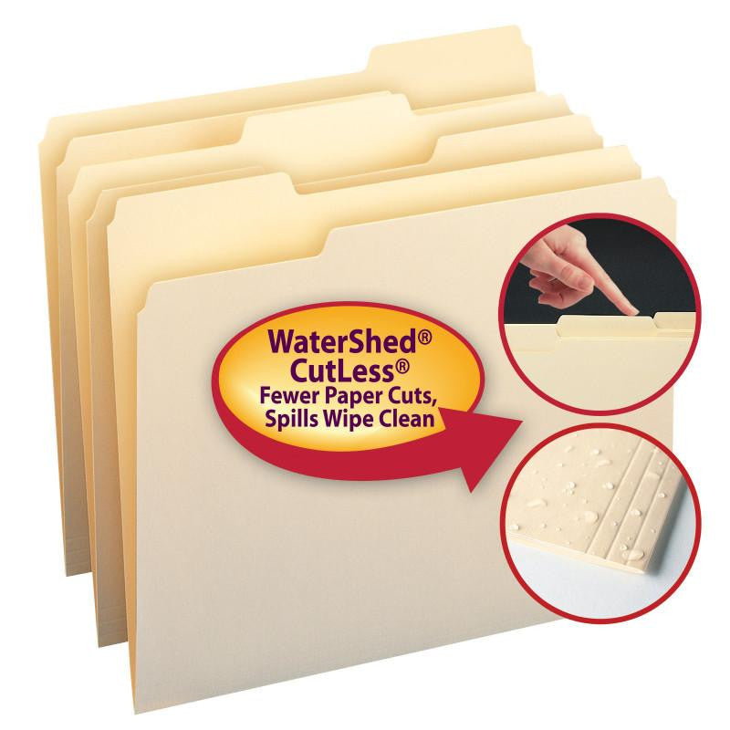 Smead WaterShed®/CutLess® File Folder, 1/3-Cut Tab, Letter Size, Manila, 100 Per Box (10343)