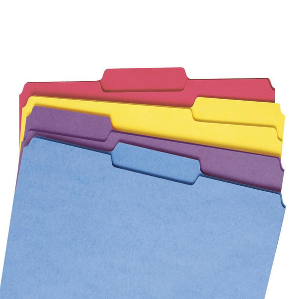 Smead File Folder with Antimicrobial Product Protection, 1/3-Cut Tab, Letter Size, Assorted Colors, 100 per Box (10349)