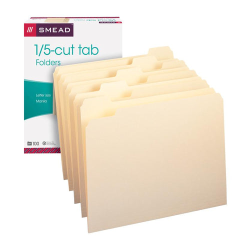 Smead File Folder, 1/5-Cut Tab, Letter Size, Assorted Positions, Manila, 100 per Box (10350)