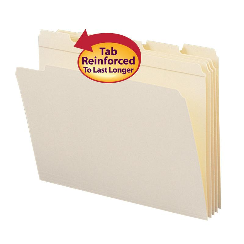 Smead File Folder, Reinforced 1/5-Cut Tab, Assorted Positions, Letter Size, Manila, 100 per Box (10356)