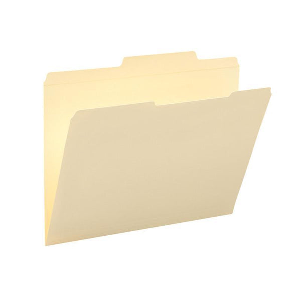 Smead File Folders, Reinforced 2/5-Cut Right of Center Position, Guide Height, Letter Size, Manila, 100 per Box (10376)