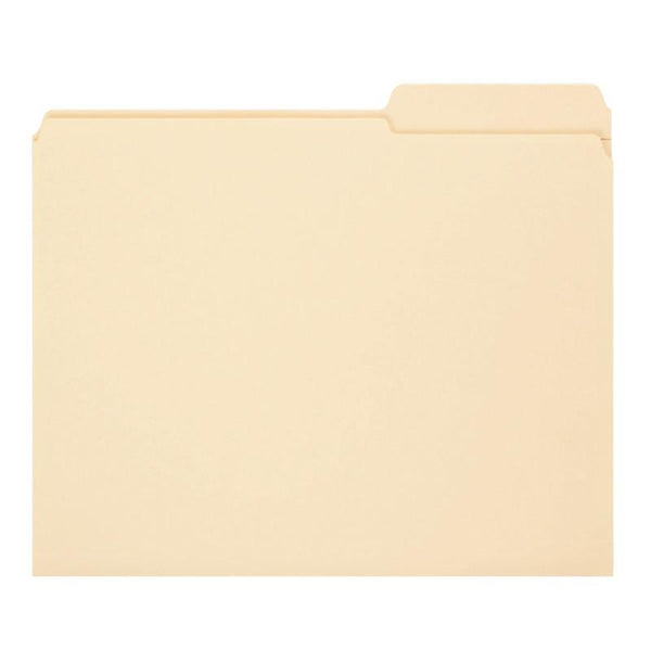 Smead File Folders, Reinforced 2/5-Cut Right Position Tab, Guide Height, Letter Size, Manila, 100 per Box (10386)