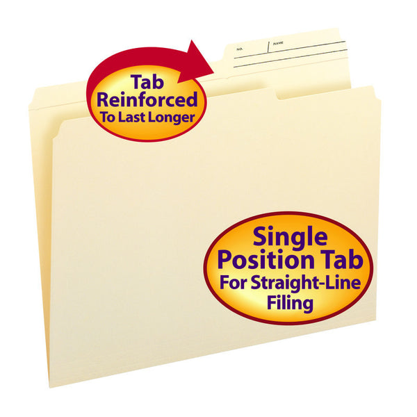 Smead File Folders, Reinforced 2/5-Cut Right Position Printed Tab, Guide Height, Letter Size, Manila, 100 Per Box (10388)