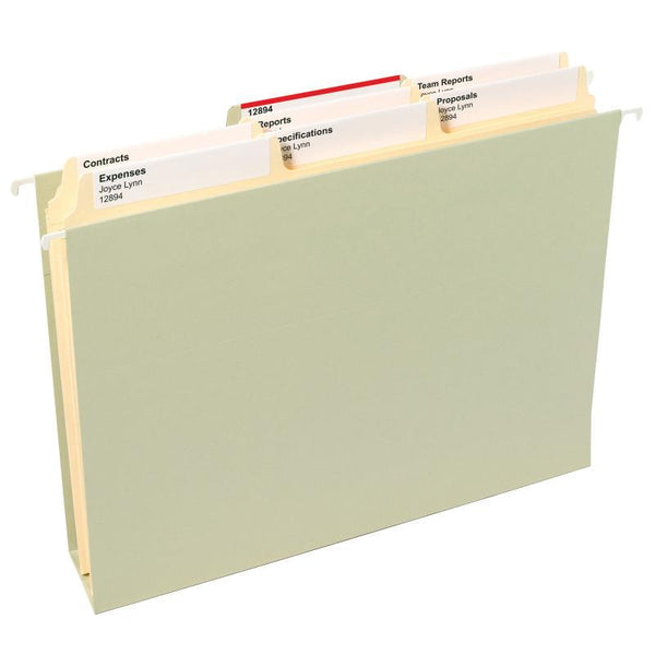 Smead SuperTab® File Folder, Oversized Reinforced 1/3-Cut Tab, Guide Height, Letter Size, Manila, 100 per Box (10395)