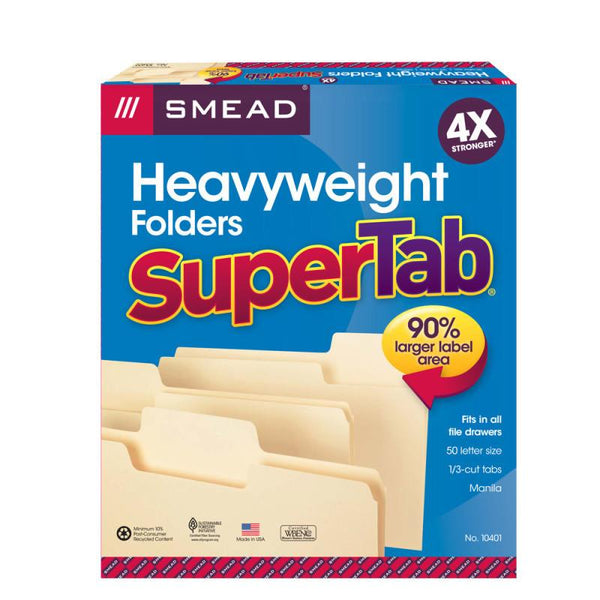Smead SuperTab® Heavyweight File Folder,  Oversized 1/3-Cut Tab, Letter Size, Manila, 50 per Box (10401)