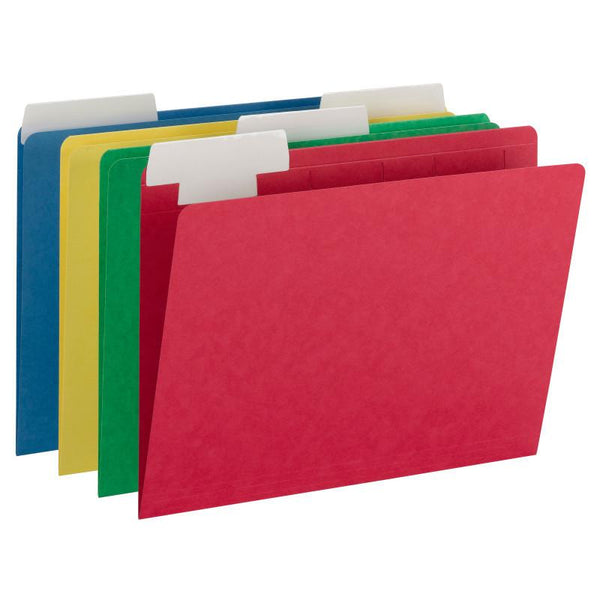Smead FlexiFolder™ Heavyweight File Folder with Movable Tab, Erasable, Extra Wide 1/3-Cut Tab, Letter Size, Assorted Colors, 12 per Pack (10404)