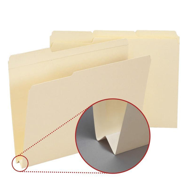 "Smead File Folder, Reinforced 1/3-Cut Tab, 1-1/2"" Expansion, Letter Size, Manila, 50 per Box (10405)"