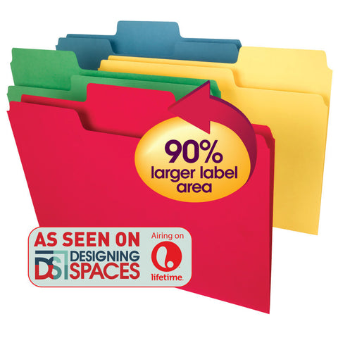 Smead SuperTab® Heavyweight File Folder, Oversized 1/3-Cut Tab, Letter Size, Assorted Colors, 50 per Box (10410)
