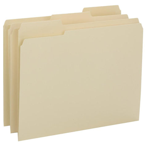 Smead File Folder, Reinforced 1/3-Cut Tab, Assorted Postions, Letter Size, Manila, 100 per Box (10434)