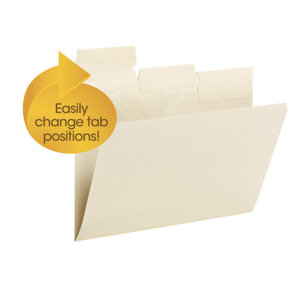 Smead Pick-A-Tab™ File Folder, Repositionable 1/3-Cut Tabs, Letter Size, Manila, 24 per Pack (10460)