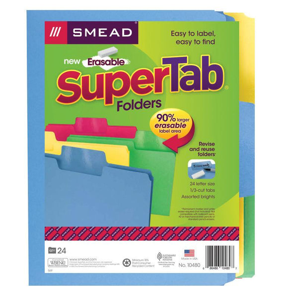 Smead Erasable SuperTab® File Folder, Erasable Oversized 1/3-Cut Tab, Letter Size, Assorted Colors, 24 per Pack, (10480)