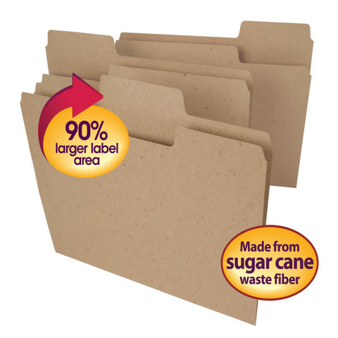 Smead Tree Free SuperTab® File Folder, Oversized 1/3-Cut Tab, Letter Size, Natural Brown, 24 per Pack (10750)