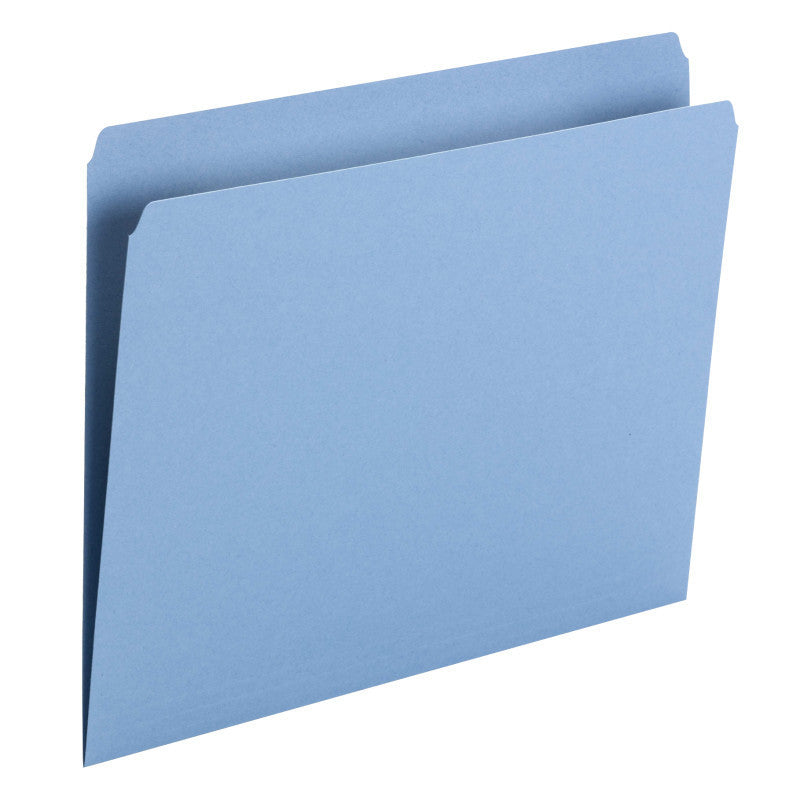 Smead File Folder, Straight Cut, Letter Size, Blue, 100 per Box (10935)