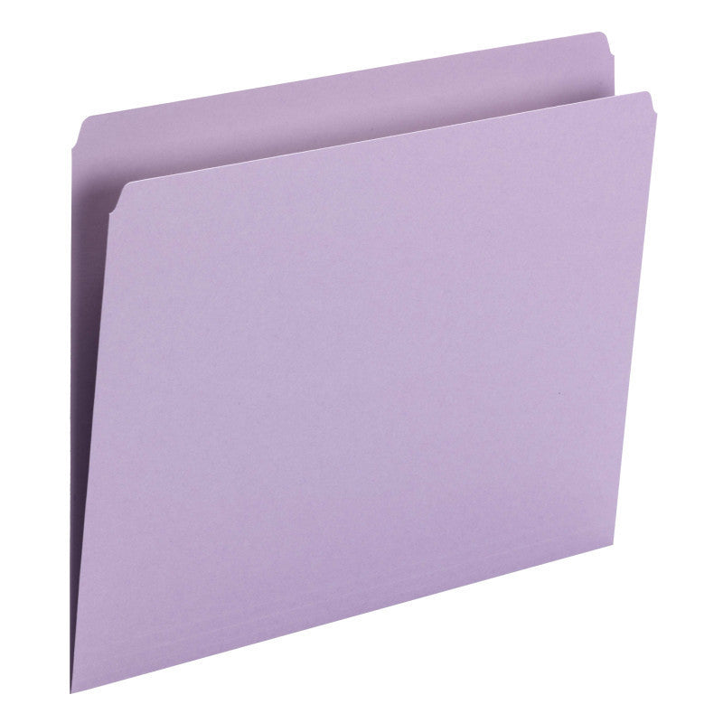Smead File Folder, Straight Cut, Letter Size, Lavender, 100 per Box (10940)