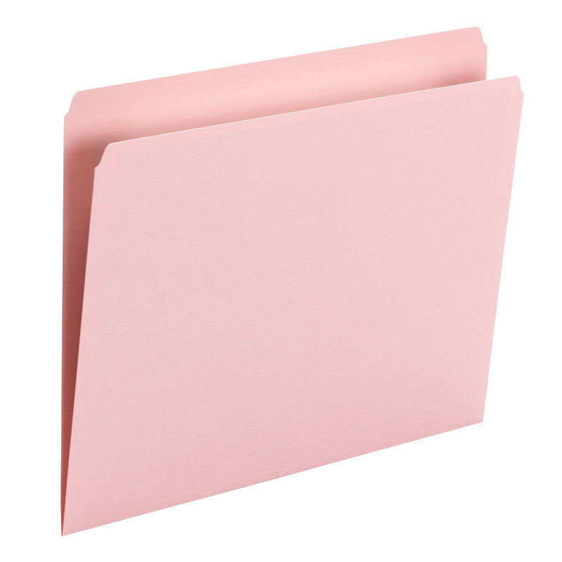Smead File Folder, Straight Cut, Letter Size, Pink, 100 per Box (10942)
