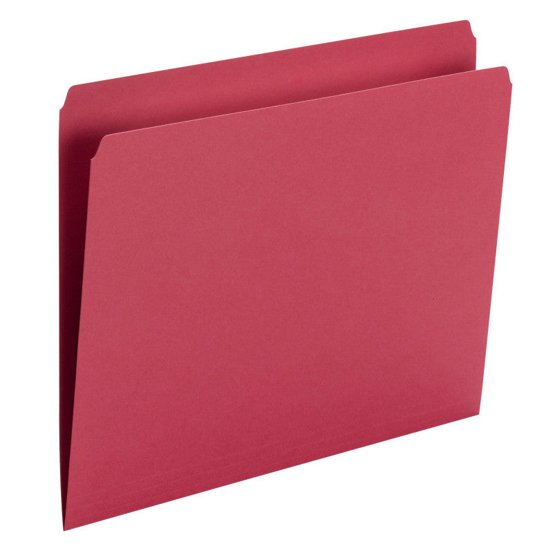 Smead File Folder, Straight Cut, Letter Size, Red, 100 per Box (10943)