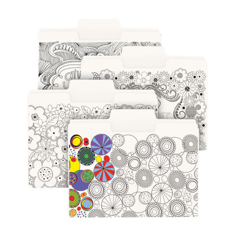 Pack of 24 Smead SuperTab® Coloring Folder, Oversized 1/3-Cut Tabs, Letter Size, 4 Designs (11649)