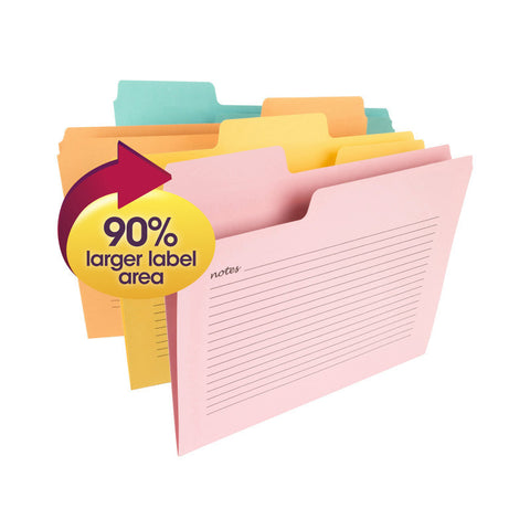 Smead SuperTab® Notes File Folder, Oversized 1/3-Cut Tab, Letter Size, Assorted Colors, 12 per Pack (11650)