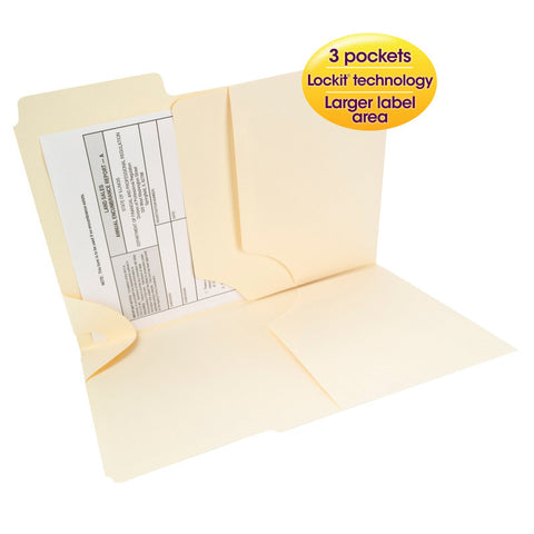 Smead 3-in-1 SuperTab® Section Folder, Oversized 1/3-Cut Tab - First Position, Letter Size, Manila, 12 per Pack (11904)
