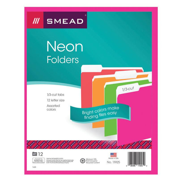 Smead File Folder, 1/3-Cut Tab, Letter Size, Assorted Neon Colors, 12 per Pack (11925)