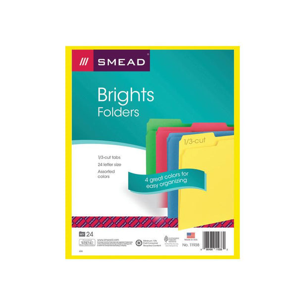 Smead File Folder, 1/3-Cut Tab, Letter Size, Assorted Colors, 24 per Pack (11938)