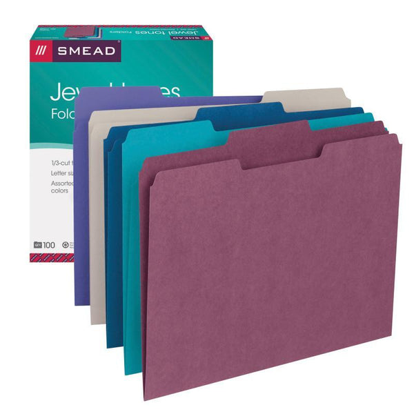 Smead File Folder, 1/3-Cut Tab, Letter Size, Assorted Colors, 100 per Box, (11948)