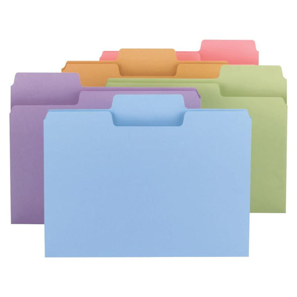 Smead SuperTab® File Folder, 1/3-Cut Tab, Letter Size, Assorted Colors, 100 per Box (11961)