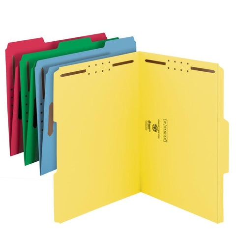 Smead Fastener File Folder, 2 Fasteners, Reinforced 1/3-Cut Tab, Letter Size, Assorted Colors, 50 per Box (11975)