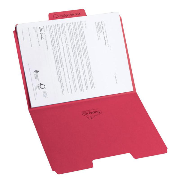 Smead SuperTab® File Folder, Oversized 1/3-Cut Tab, Letter Size, Red, 100 per Box (11983)