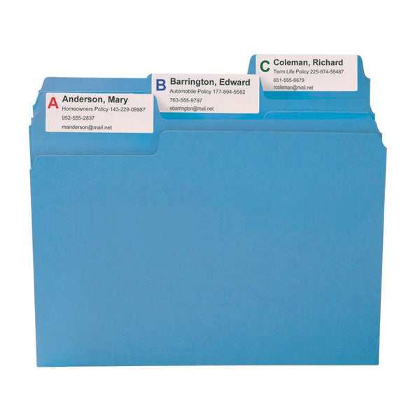 Smead SuperTab® File Folder, Oversized 1/3-Cut Tab, Letter Size, Blue, 100 per Box (11986)