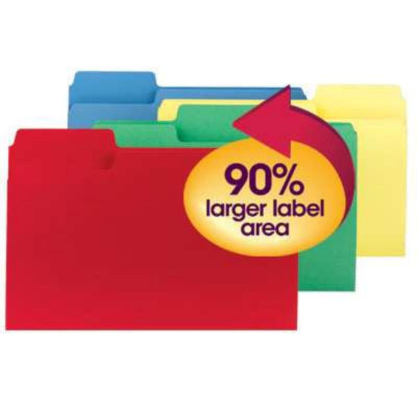 Smead SuperTab® File Folder, Oversized 1/3-Cut Tab, Legal Size, Assorted Colors, 100 per Box (11988)