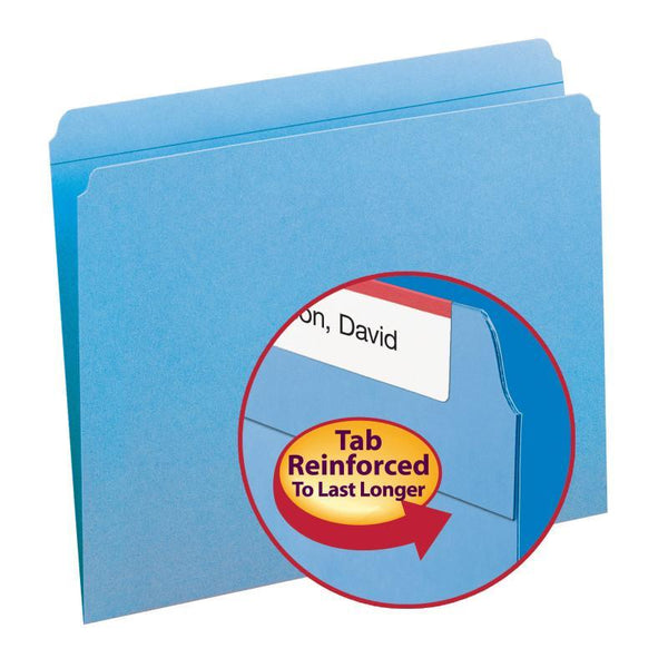 Smead File Folder, Reinforced Straight-Cut Tab, Letter Size, Blue, 100 per Box (12010)