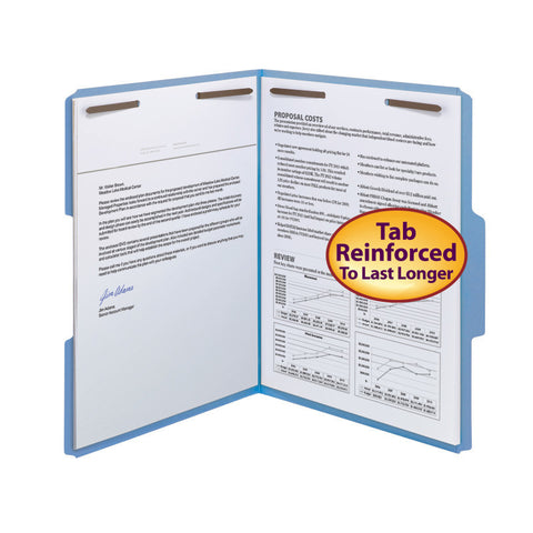 Smead WaterShed®CutLess® Fastener File Folder, 2 Fasteners, Reinforced 1/3-Cut Tab, Letter Size, Blue, 50 per Box (12042)
