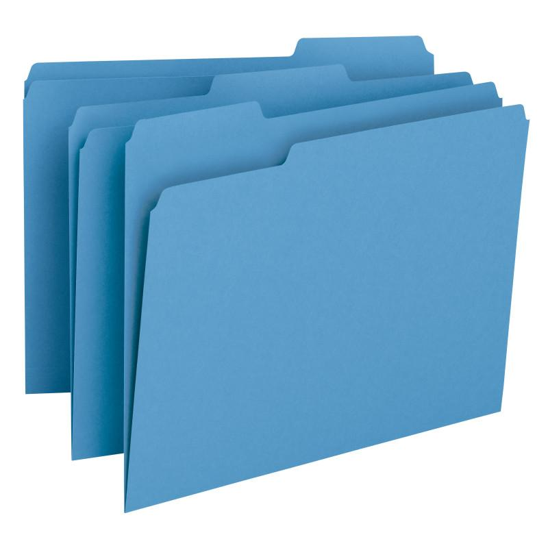 Smead File Folder, 1/3-Cut Tab, Letter Size, Blue, 100 per Box (12043)