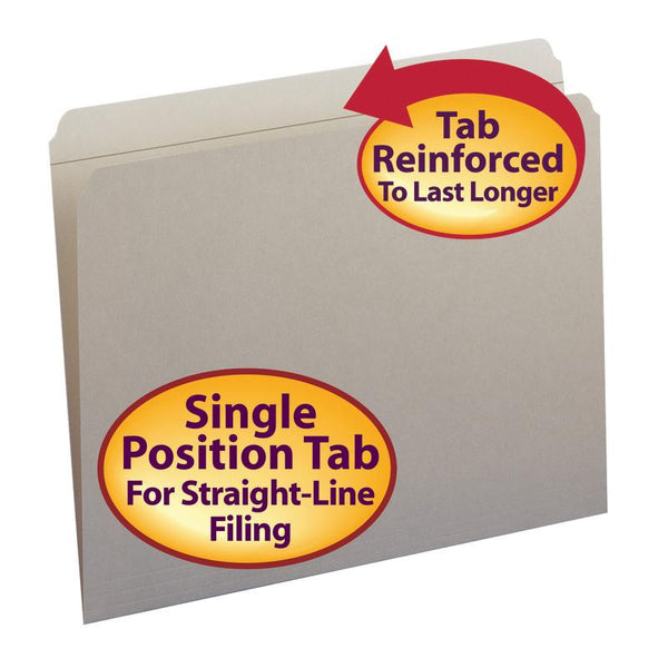 Smead File Folder, Reinforced Straight-Cut Tab, Letter Size, Gray, 100 per Box (12310)
