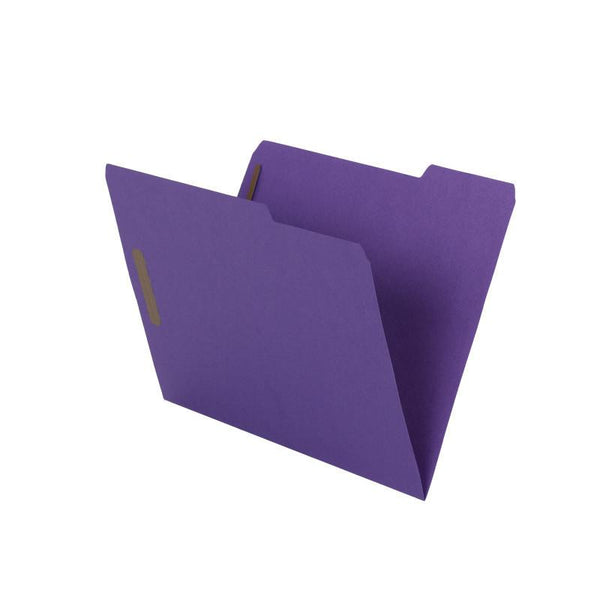 Smead WaterShed®/CutLess® Fastener File Folder, 2 Fasteners, Reinforced 1/3-Cut Tab, Letter Size, Purple, 50 per box (12442)
