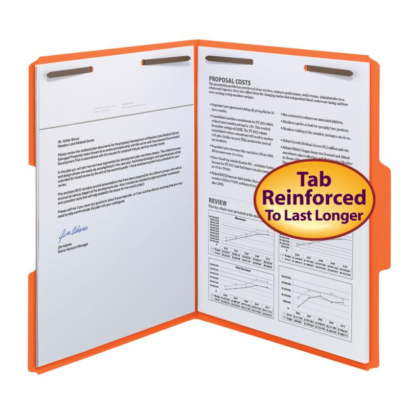 Smead Fastener File Folder, 2 Fasteners, Reinforced 1/3-Cut Tab, Letter Size, Orange, 50 per Box (12540)
